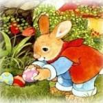 Великденският заек - крие яйца в градината