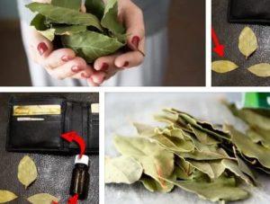 дафинов лист в портмонето за пари