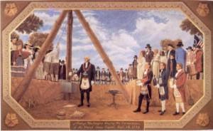 Джордж Вашингтон с ритуална пола за церемония на масоните