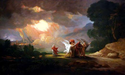 Из историята за Содом и Гомор – ангели извеждат Лот, жена му и дъщерите му от Содом