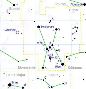 Разположение на звездите в съзвездие Орион