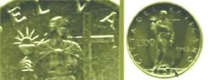 """На тази монета със заглавие """"Citadel Vaticano"""", е изобразена жена с чаша в ръка, на име """"FIDES""""."""