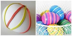 боядисване на яйца с ластички за коса