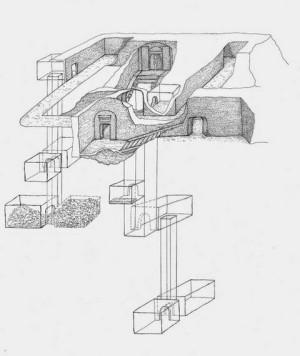 Скица показва очертанията на откритата гробница на Озирис