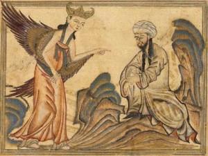 Изображение на първото откровение на Мохамед в пещерата Хира с демона Джибрил