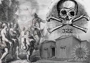 Картина със символи на елитното тайно масонко общество Череп и кости и емблемата 322 означаваща 22 март – празник на Изида