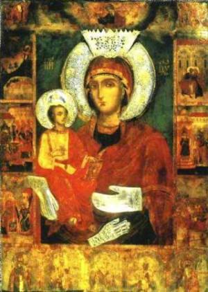 Една от чудотворните икони - Света Богородица Троеручица, намираща се в Троянския манастир