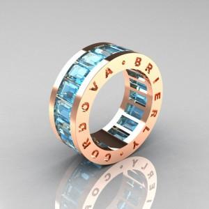 Златен пръстен с аквамарин - уникална идея за брачна халка