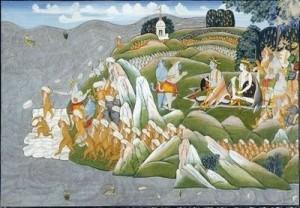 Рисунка на строежа на митичния мост на Рама с помощта на армия от маймуни