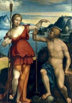Посейдон и Атина в битка за контрол на град Атина – картина на Бенвенуто Тиси ра Гарофало 1512 г.