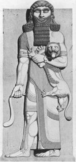 Гилгамеш, 8 век пр. Хр., изображение върху камък в двореца на цар Саргон.