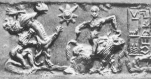 Гилгамеш и Енкиду изобразени върху цилиндър около 3,5 см дълъг от Ур, 3-то хилядолетие пр. Хр.