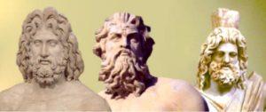 Гръцките три върховни богове: Зевс, Посейдон и Хадес - боговете на небето, морето и подземния свят.