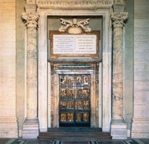 Юбилейната година на Ватикана – светата врата в Рим, имайки пред вид за ритуала ключовете над нея.