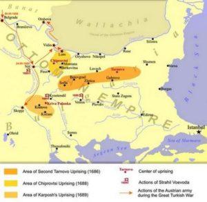 Българските въстания срещу османското владичество през втората половина на 17-ти век. Карта публикувана в западни сайтове.