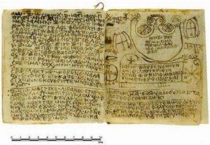 Това изображение показва част от текста на древния кодекс. Снимка от г-жа Effy Alexakis, от Macquarie University, изследователски център по древни култури.