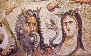 Мозаечна фреска на митичните божества Океан и Тефис. Тази мозаечна фреска е най-популярна в дизайна на плувни басейни и бани.