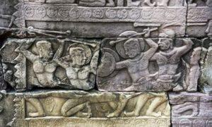 "Бойна сцена, изобразена подробно в барелефите в храмовия комплекс ""Бантей Шхар""."