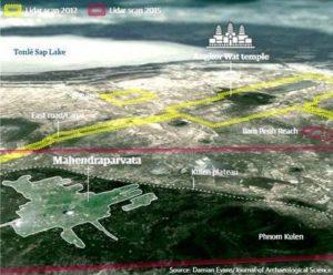 Изследваните райони с новата технология LIDAR. Зелената линия обхваща районите изследвани през 2012 г., а червената линия обхваща районите изследвани през 2015 г.