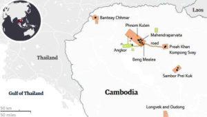 Карта на местността в района на Ангкор Ват.