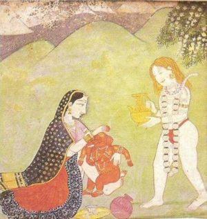 Шива и Парвати дават глава на Ганеша. Кангра миниатюра, 18-ти век.
