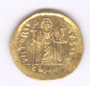 Другата страна на откритата златна монета.