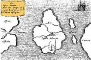 Тази карта на Атлантида е ориентирана с юг на върха и е била съставена от учения Атанасий Кирчер от 17-ти век, който определя митичния континент в средата на Атлантическия океан, преди да бъде изгубен в морето.