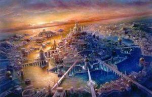 Картина на съвременен художник отнасяща се за изчезналите цивилизации Лемурия и Атлантида.