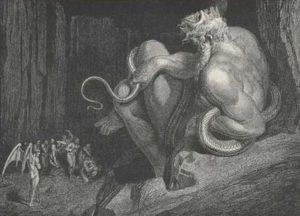 """Илюстрация на Густав Доре за цар Минос за """"Inferno"""" на Данте Алигиери."""