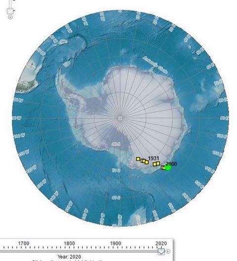 Премествания на Южния магнитен полюс из Антарктида