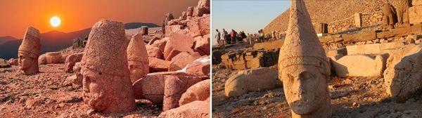 Някои от статуите край върха на планината Немрут