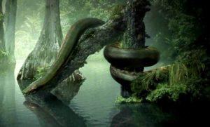 Артистично представяне на праисторическата гигантска Титанобоа.