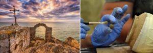 Глинено гърне пълно със съкровище от монети и ценни метални предмети е открито в черноморската крепост Калиакра. Източник: Национален исторически музей, България.