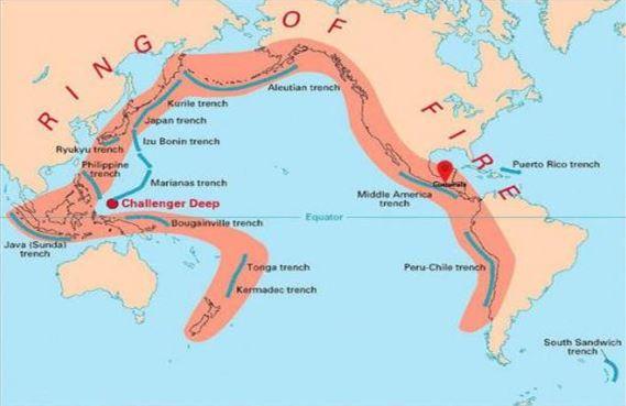 Огромното мнозинство от земетресенията, които разтърсват нашата планета, се случват по Огнения пръстен. Той грубо обкръжава Тихия океан и се простира до западното крайбрежие на САЩ.