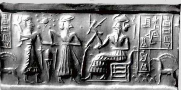 Таблет изобразяващ мистичната планета Нибиру и анунаки, според легендите на шумерите