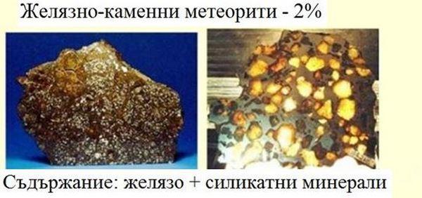 Желязно-каменни метеорити - 2%