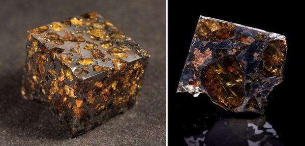 Вляво - метеорит паласит, вдясно - метеорит паласит от Сеймчан, Русия