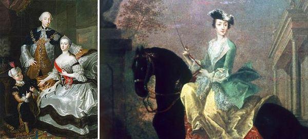 Екатерина Велика – портрети. Нейното семейство вляво и вдясно - на кон.