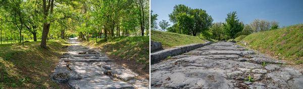 Вляво - улицата по-близо до централната част на града. Вдясно - Улица, ориентирана от север на юг в римския град Никополис ад Иструм.