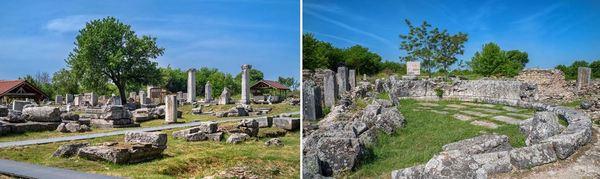 Вляво - централната част на града. Вдясно – Одеонът в Никополис ад Иструм.