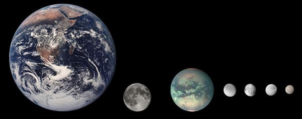 Петте най-големи спътници на Сатурн, сравнение с размерите им със Земята и Луната. Отляво надясно: Титан, Рея, Япет, Диона и Тетида.