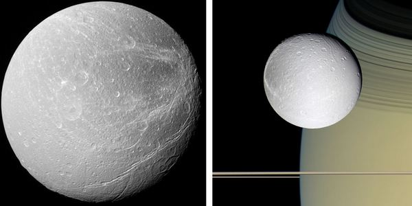 Диона от близо вляво и на фона на Сатурн вдясно