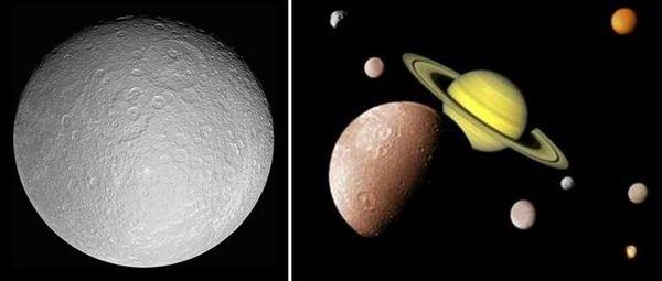 Спътник на Сатурн – Рея, вторият по големина от луните на Сатурн с диаметър 1528 км.
