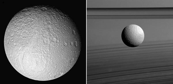 Спътникът на Сатурн Тетида или Тефия е открит през 1684 г. от Джовани Касини. Диаметърът му е около 1060 километра.