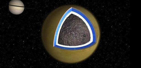 Спътник на Сатурн – Титан, в дълбочина той има скална основа.