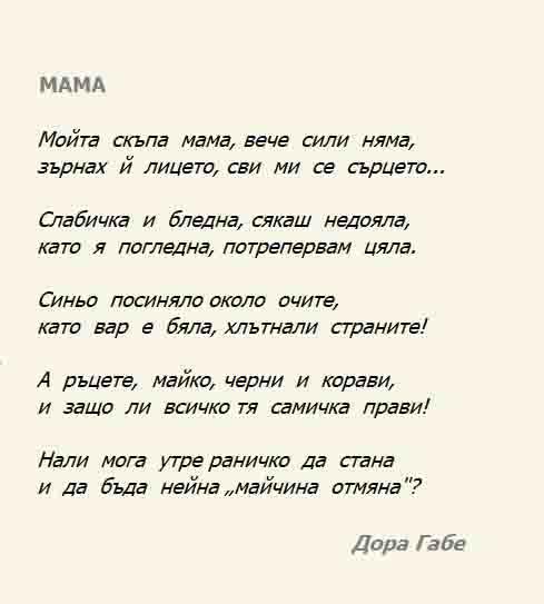 Стихотворения за мама. Кратки. Рожден ден. 8 март. Дора Габе. Иван Вазов